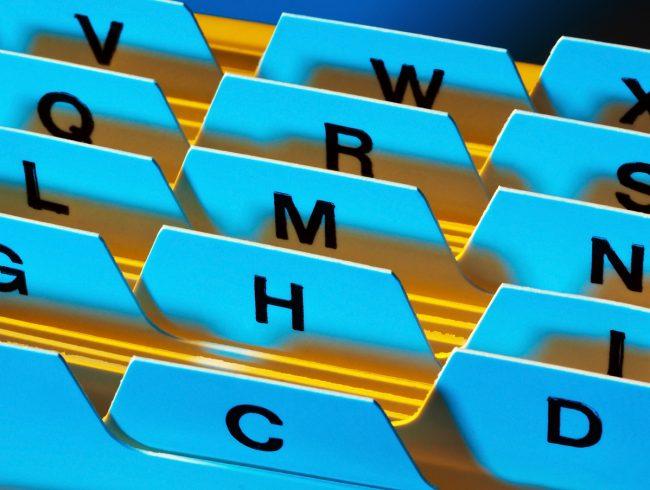 Data Cards – Alphabetical Directory